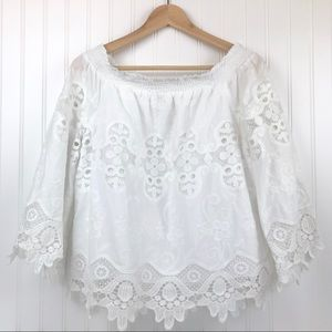 Chico's crochet off the shoulder top Size 1